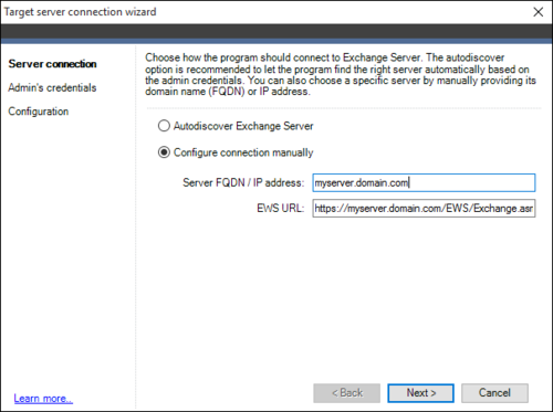 Exchange Migration target connection wizard 1a