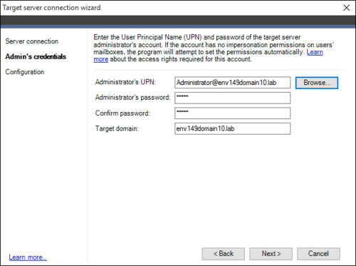 Exchange Migration target connection wizard 2a