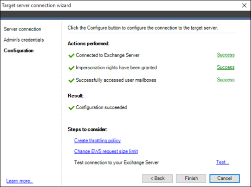 Exchange Migration target connection wizard 3