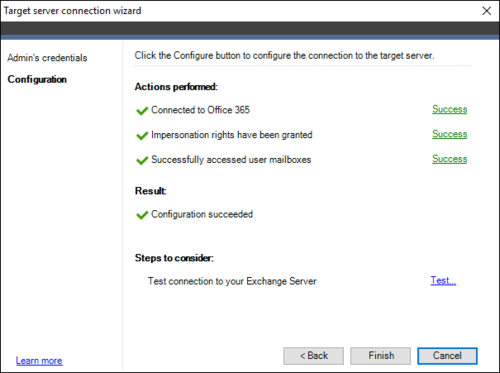 Office 365 Migration target connection wizard 2