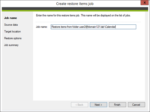 Backup - restore items job