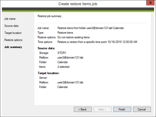 Backup - restore summary