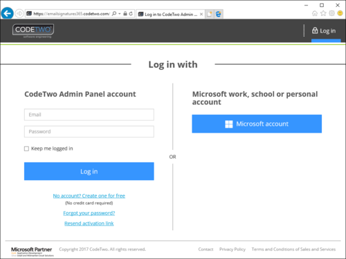 ESIG for O365 Admin Panel login website