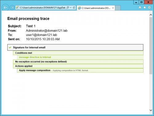 Exchange Rules Pro - processing trace in IE
