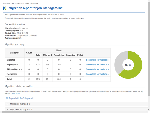 Office 365 Migration - Job report