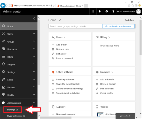 Accessing Exchange admin center from Office 365 Admin center.