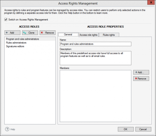 Exchange Rules - Access Rights Management window