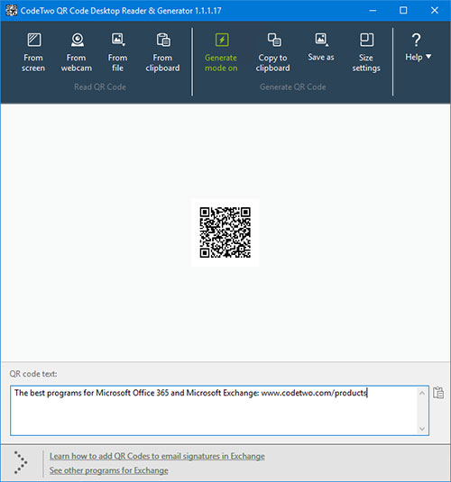 CodeTwo QR Code Desktop Reader & Generator - your own code generated in the program.
