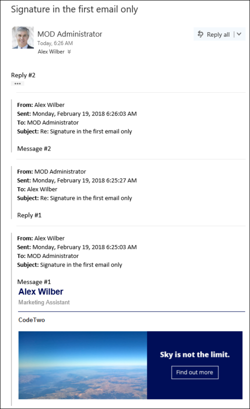 Editor - ER add signature to the first email only