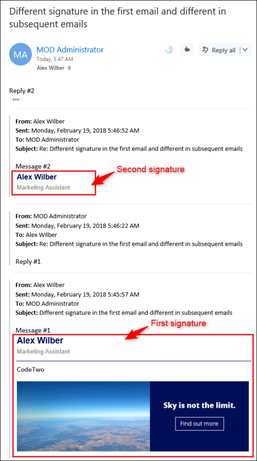ESIG for O365 conversations-different 1st email 2