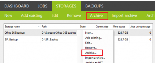 Backup create archive job from Storages tab