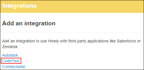 Hively CodeTwo Integration