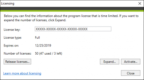 Backup licensing window