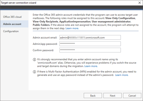 Office 365 Migration target connection wizard 1