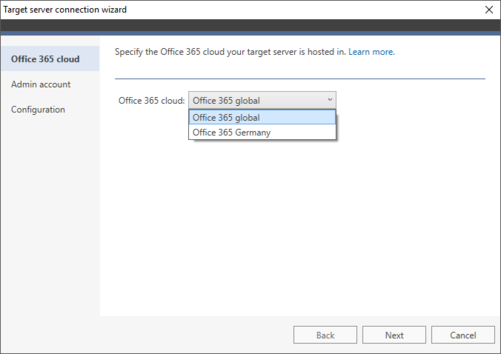 Office 365 Migration target connection wizard 1a