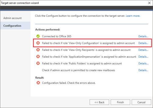 O365 Migration troubleshooting view-only conf fail