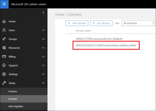 ESIG for O365 CodeTwo domain in Microsoft 365 admin center