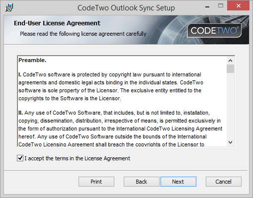 OS - Accept license agreement.
