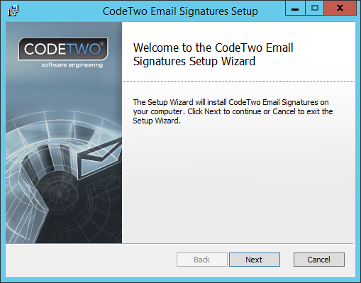 Email Signatures - Setup's 1st screen.