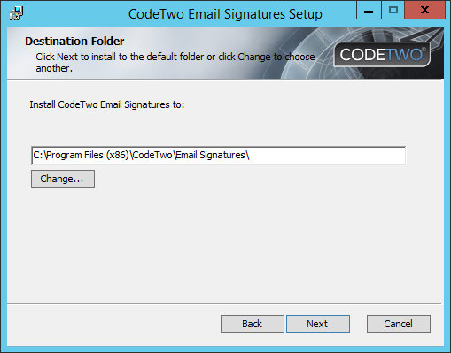 Email Signatures - Choose an installation path.
