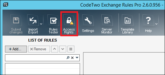 Access Rights button on the top menu bar of the Administration Panel.