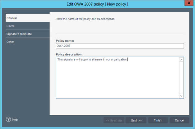 The edition policy view - General tab.