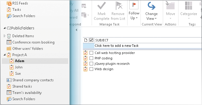 Manage projects in Outlook.