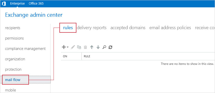 In Exchange admin center go to mail flow, rules