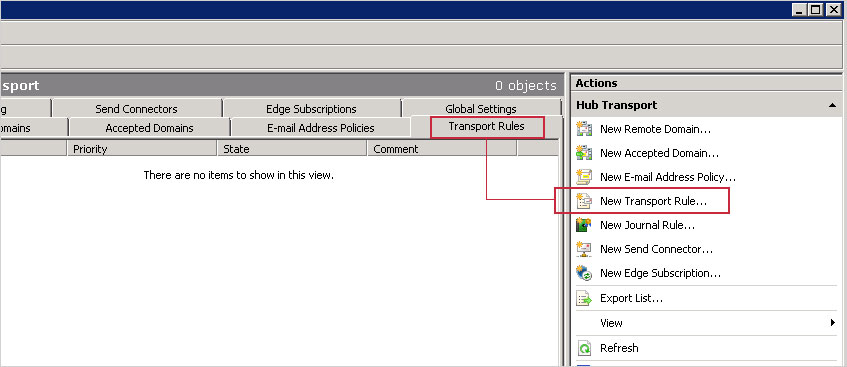 In the middle section click the Transport Rules tab and in the Actions pane on the right, click New Transport Rule...