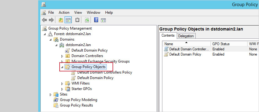 In the left pane of the Group Policy Management console, expand the domain you want to script to apply to and Group Policy Objects