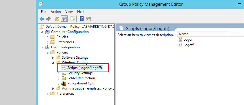 Expand User Configuration, Policies, Windows Settings and click Scripts (Logon/Logoff)