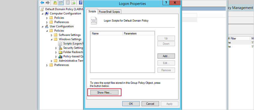 In the pane on the right, double-click the Logon entry. In the resulting Logon Properties window, click Show Files..., add your script to the Logon folder and click OK