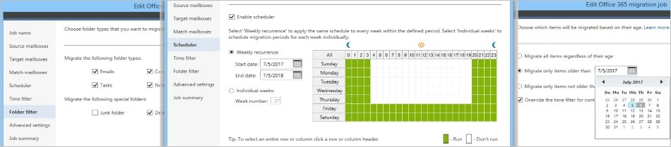 CodeTwo Office 365 Migration - Set up the scheduler and migration filters