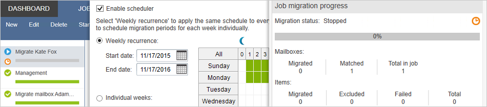 Schedule when the migration process starts