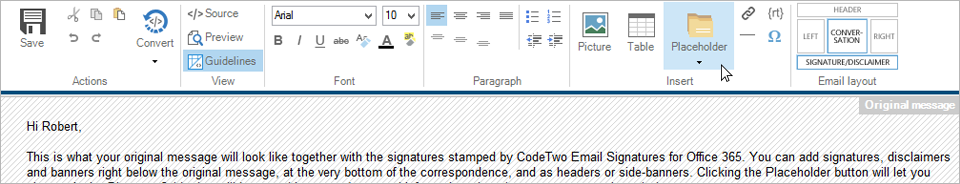 CodeTwo Email Signatures for Office 365 - Using the placeholder button to add dynamic fields