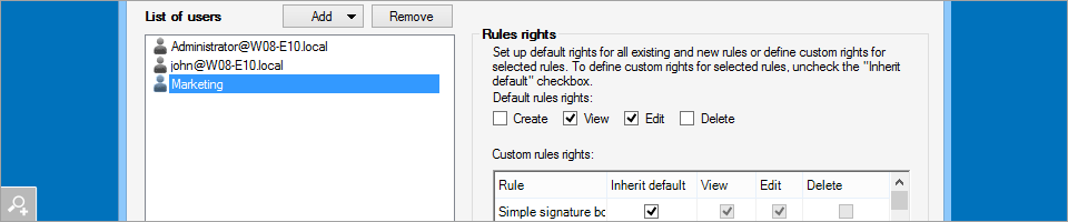 CodeTwo Exchange Rules PRO 2.0 - Managing access rights to rules