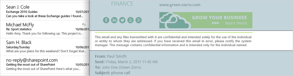 A confidentiality disclaimer in an email