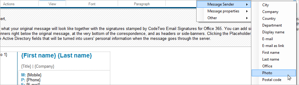 Inserting a dynamic field that will pull user photos into email signatures in Office 365