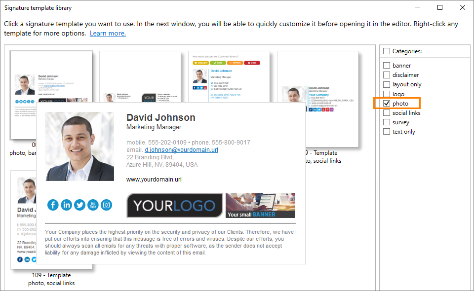 Selecting an email signature template that includes an Office 365 user photo
