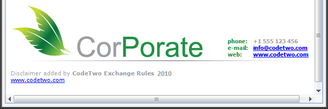Extra lines added by the demo version of CodeTwo Exchange Rules 2010 to the HTML